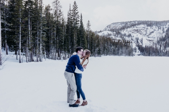 Nicky & Josh's Proposal, Rocky Mountain National Park, Colorado Winter Engagement